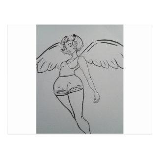 Chica entintado y lindo del ángel postal