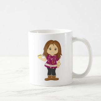 Chica estropeado taza de café