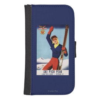 Chica flexible del esquí del Pin-Para arriba del Fundas Cartera De Galaxy S4
