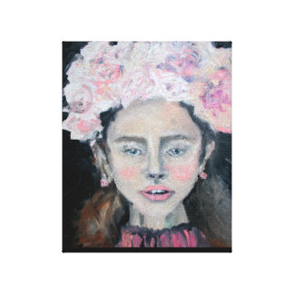 Chica floreciente lienzo