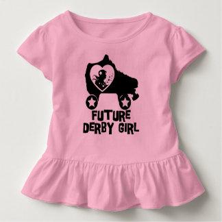 Chica futuro de Derby, diseño del patinaje sobre Camiseta De Bebé