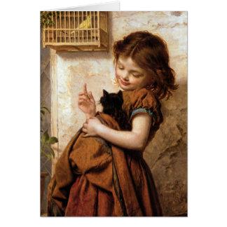 Chica, gato y pájaro - pintura del gatito del tarjetón