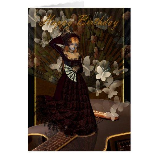 Chica gótico del feliz cumpleaños con la pocilga d tarjeta