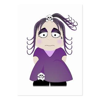 Chica gótico triste en púrpura tarjeta de negocio