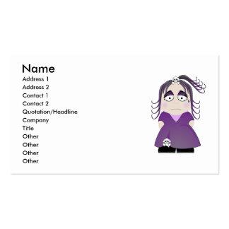 Chica gótico triste en púrpura plantilla de tarjeta de visita
