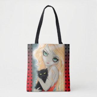 Chica grande del ojo de los mejores amigos y arte bolsa de tela