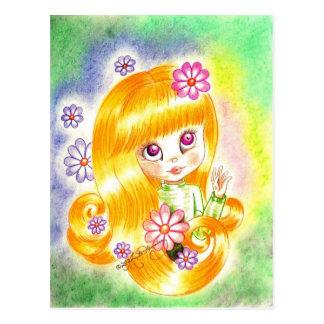 Chica grande lindo del ojo con el pelo y las postal