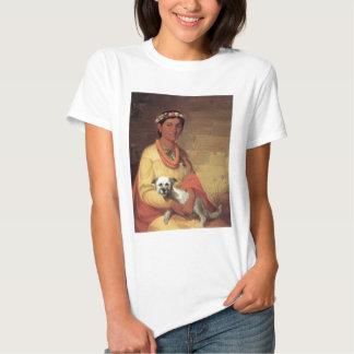 Chica hawaiano con el perro, aceite en la pintura camisetas