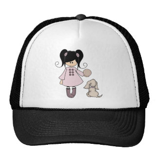 Chica hermoso con su perro gorras de camionero
