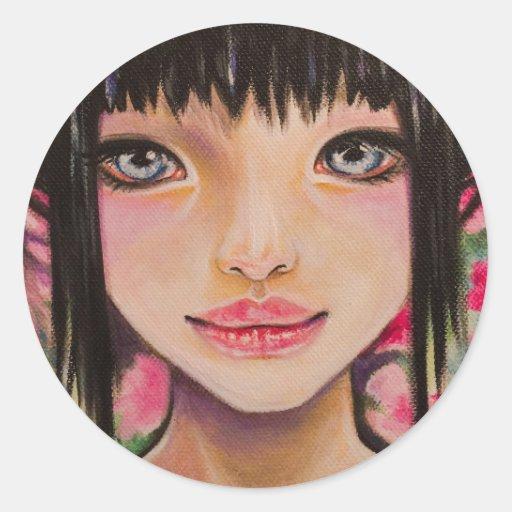 Chica japonés con los ojos azules pegatina redonda