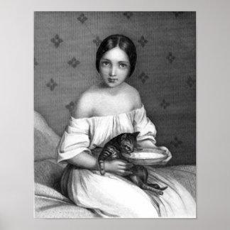 Chica joven con el gatito y el cuenco de leche póster