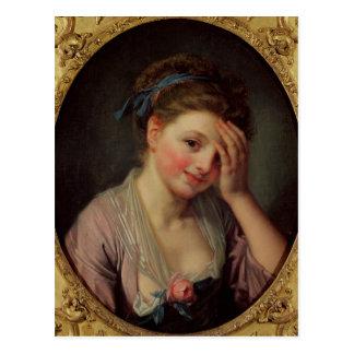 Chica joven con un color de rosa postal