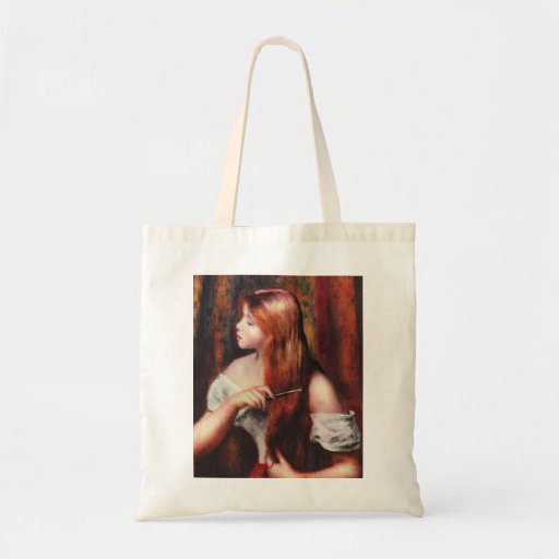 Chica joven de Renoir que peina la su bolsa de asa