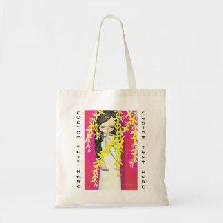 Chica joven del kawaii de la cortina de la flor de bolsa