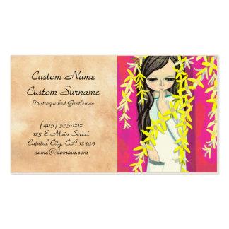 Chica joven del kawaii de la cortina de la flor de plantillas de tarjetas personales