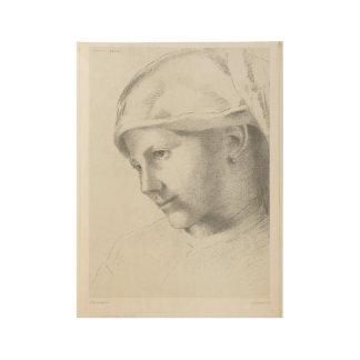 Chica joven, Odilon Redon, 1887 Póster De Madera