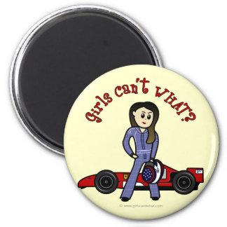 Chica ligero del conductor de coche de carreras imán redondo 5 cm
