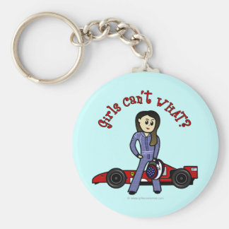 Chica ligero del conductor de coche de carreras llavero redondo tipo chapa