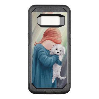 Chica lindo con el perro blanco funda otterbox commuter para samsung galaxy s8