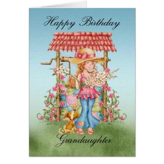 Chica lindo de la nieta y desear cumpleaños bien tarjeton