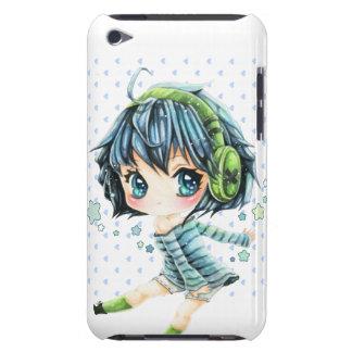 Chica lindo del animado con el auricular verde funda para iPod de Case-Mate