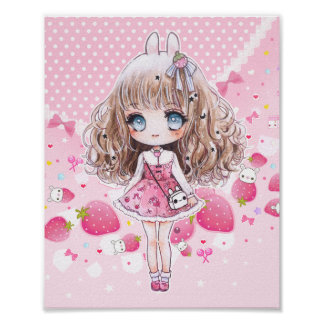 Chica lindo del chibi con las fresas del kawaii póster