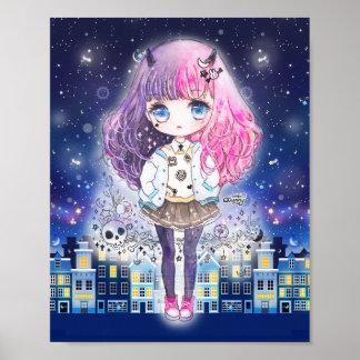 Chica lindo del chibi en una ciudad de estrellas póster