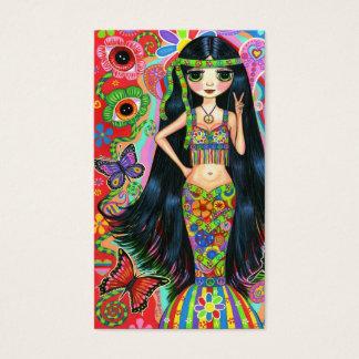 Chica lindo del Hippie del signo de la paz de la Tarjeta De Visita