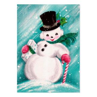 Chica lindo del muñeco de nieve tarjetas de visita grandes