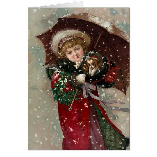 Chica lindo del navidad en nieve tarjeta de felicitación