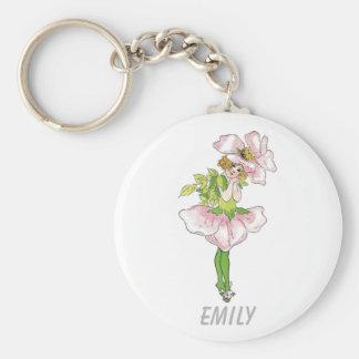 Chica lindo divertido floral subió Briar rosado de Llavero