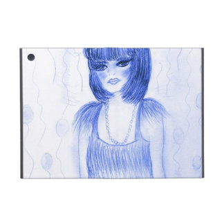 Chica marchosa azul de la aleta iPad mini carcasas
