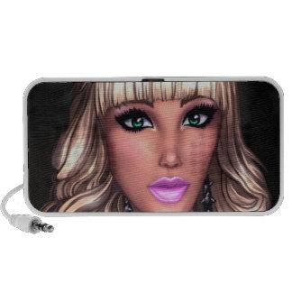 Chica marchosa rubia iPod altavoz