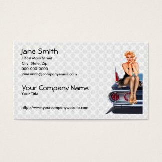 Chica modelo del coche de carreras tarjeta de negocios