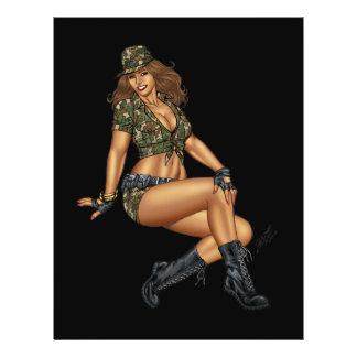 Chica modelo en Camo por el Al Río Folleto 21,6 X 28 Cm