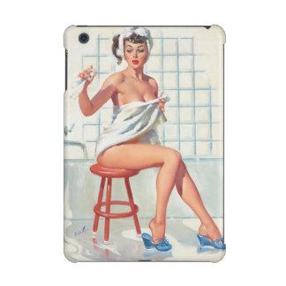 Chica modelo retro del cuarto de baño atractivo de