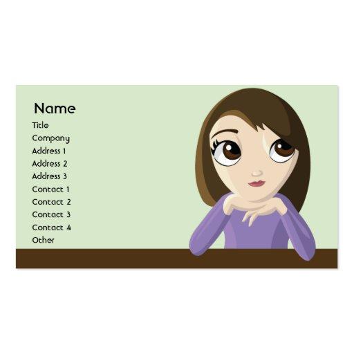 Chica - negocio plantilla de tarjeta de visita