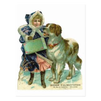 Chica nostálgico del estilo del Victorian con el Postal