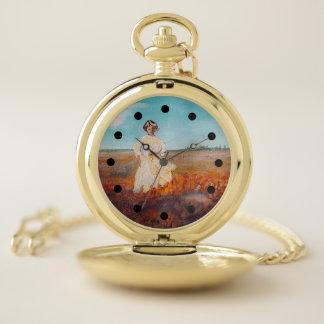 Chica nostálgico en un reloj de Poppyfield