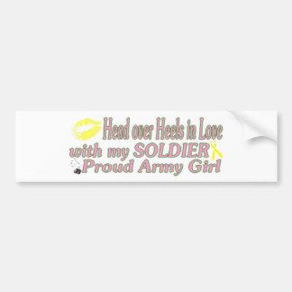 Chica orgulloso del ejército pegatina para coche