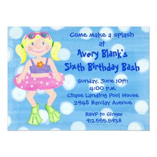 Chica pintado del Blonde del partido de la nadada Invitación 13,9 X 19,0 Cm