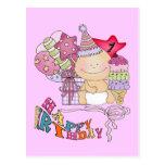 Chica poco firme del feliz cumpleaños de 1 año tarjeta postal