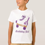 Chica púrpura de encargo del cumpleaños del patín camiseta