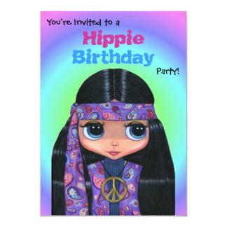 Chica púrpura del Hippie de Paisley de la fiesta Invitación 12,7 X 17,8 Cm