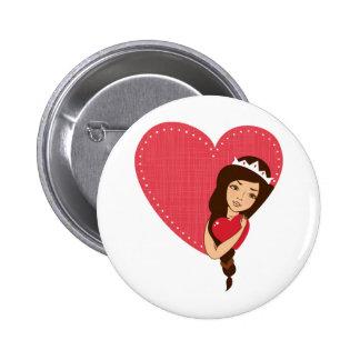 chica que abraza el corazón en vector pins