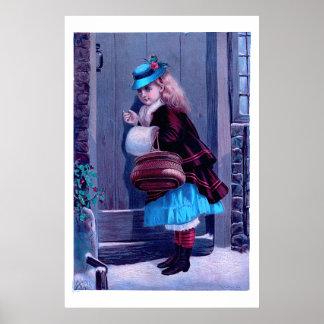 Chica que golpea en la pintura del vintage de la póster
