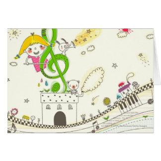 Chica que juega con las notas musicales sobre casa tarjeta de felicitación
