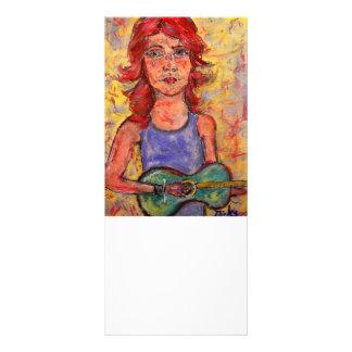 chica que toca una guitarra colorida tarjeta publicitaria personalizada