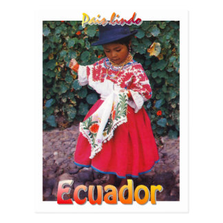 chica quechua de la postal de Ecuador del vintage
