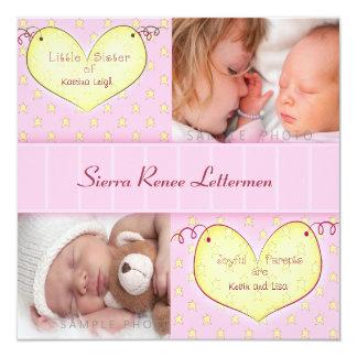 Chica recién nacido con la invitación del invitación 13,3 cm x 13,3cm